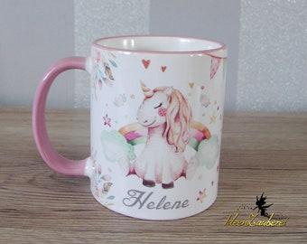 Namenstasse Geschenk Tasse mit Motiv und individuellem Namen Einhorn Tasse