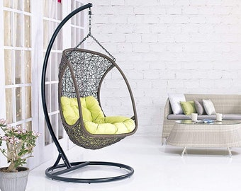 Hanging Hammock Chair with Stand (Brown) Balcony Swing Outdoor/Indoor porch swing  sc 1 st  Etsy & Hammock chair stand | Etsy