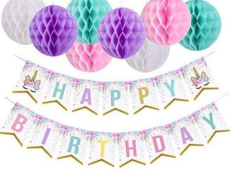 9Pcs Unicorn Happy Birthday Banner With Pom Balls Themed Party Decorations For Girls Supplies