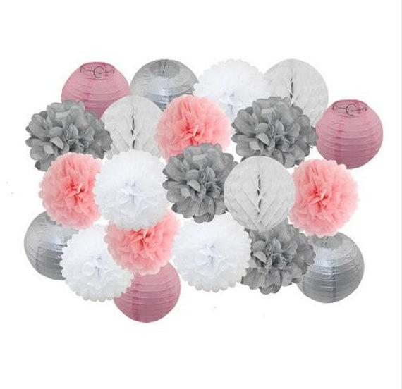 10PCS Mixed Grey Pastel Pink White Paper Lantern /& Pom Poms Flower Nursery Baby Girl Shower Wedding Birthday Party Hanging Decoration