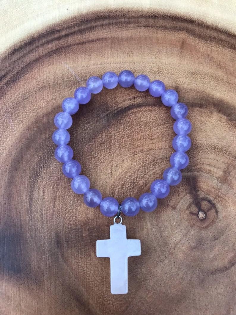 Beautiful Purple jade bracelet with rose quartz cross stretch bracelet love and happiness bracelet