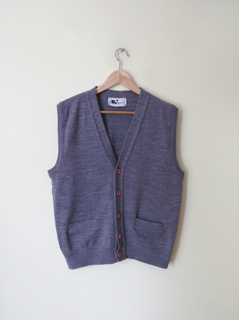 Mr Cooper lavender button down sweater vest with pockets