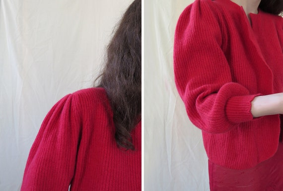 80s red balloon sleeves lambswool blend cardigan /