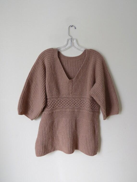 Tan angora and wool balloon sleeves knitted sweate