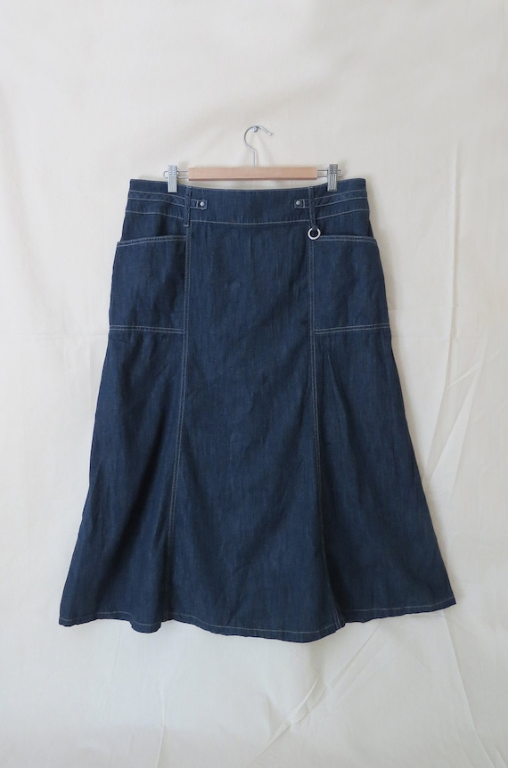 Y2K dark wash denim maxi skirt / size 14