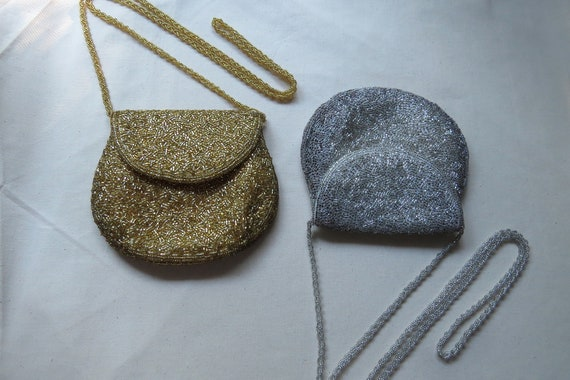 1960s Du-Val handmade gold beaded evening mini pur