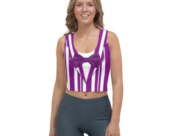 Dapper Dan Purple Quartet Singer All-Over Running Costume Women's Sport Crop Top