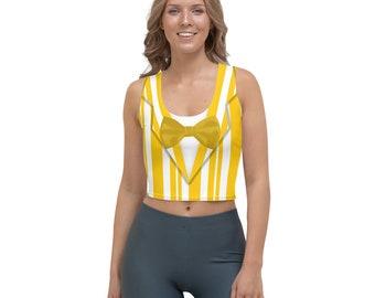 Dapper Dan Yellow Quartet Singer All-Over Running Costume Women's Sport Crop Top