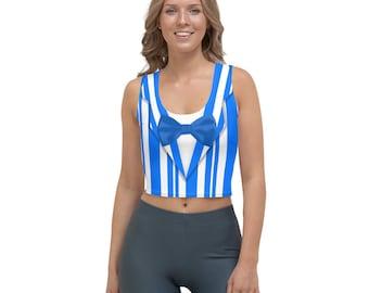 Dapper Dan Blue Quartet Singer All-Over Running Costume Women's Sport Crop Top