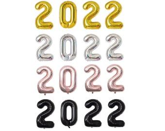 40in 2022 Number Foil Balloon Kit Graduation New Year's Eve Party Decorations Gold/Silver/Rose Gold/Black