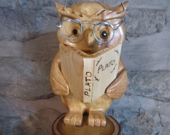 wise owl , hand carved in scotland