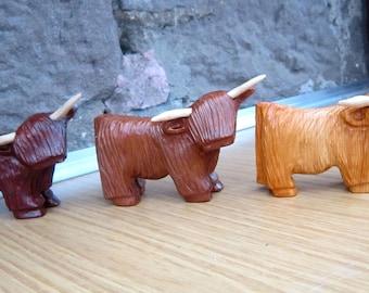 highland cow, highland coo,Scottish. hand carved