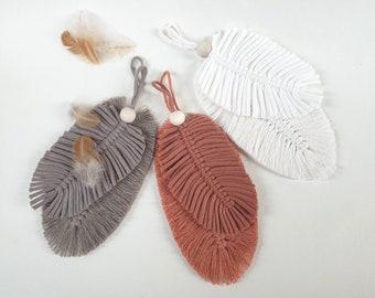 Set of 2 MAKRAMEE FEDER / BLATT, Pendant, Yarn Knotted, Colors Coffee / Terracotta / Nature, Boho
