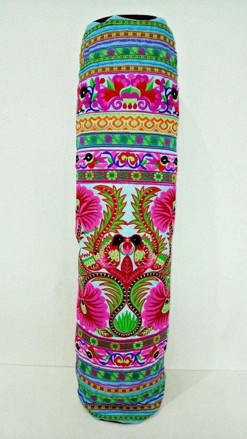 Yoga Mat Bag Sports Bag Handicrafts Shoulder Bags Hmong Hill Tribe Sewing Embroidered Carry Bag Travel Luggage Ethnic Thai Made