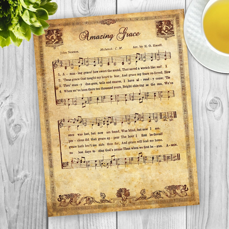 Amazing Grace | Vintage sheet music pdf file, Instant Download, Aged  Antique Sheet Music, Hymnal Page Print