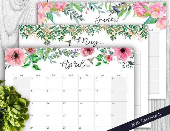 2020 Planner Calendar Printable Floral Beautiful Printable Etsy