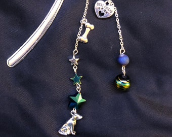 """Dog """"My Other Best Friend"""" (besides books)  Metal Beaded Bookmark"""