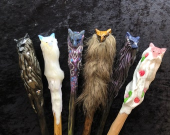 Wolf pack wand with carved stone wolf head and matching box