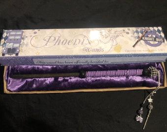 Purple Bus themed wand and matching box