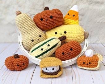 CROCHET PATTERN PACK: Fall Harvest Decorations Bundle, Pumpkins, Squashes, Pie, Halloween and Thanksgiving Amigurumi Patterns