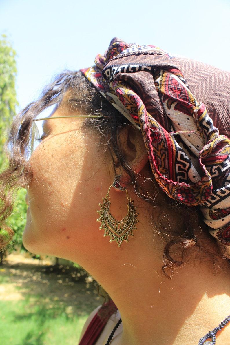 gold desert dorado hippie indian ethnic pendientes festival hechos a mano boho BRASS HOOP EARRINGS handmade laton