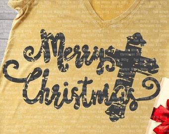 Merry Christmas iron-on transfer, Cross Christian Spiritual religious svg files for cricut, Grunge distressed, Jesus Christ nativity believe