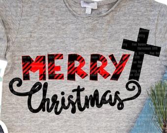 Merry Christmas Cross Buffalo plaid svg files for cricut, Spiritual religious Christian svg cutfile, Clipart, Iron on transfer, Winter decal