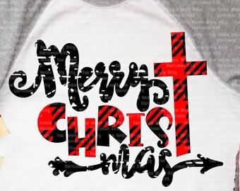 Merry Christmas iron-on transfer, Cross Christian Spiritual religious svg files for cricut, Buffalo plaid svg, Arrow svg, Grunge distressed