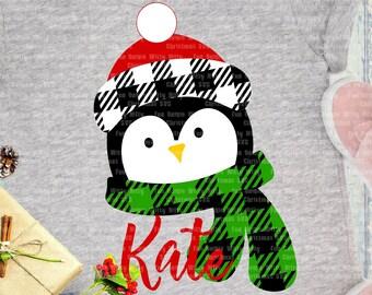 Penguin svg, Funny kids shirt Christmas svg files for cricut, Iron on transfer, Buffalo plaid svg, Baby first Christmas decal, Holiday svg
