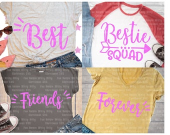 e793cffd Bestie squad, Arrow svg, Svg files for cricut, Best friends forever, Girls shirt  designs, Iron-on transfer, Set of 4, School kids shirt dxf