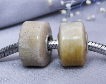 Natural Polished Chrysanthemum Stone Bead with Sterling Silver Core for European Jewellery Bracelets