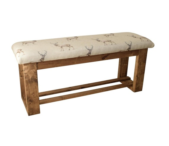 Hallway/Dining Table Bench - Stag Animal Fabric - Wooden Frame -  Upholstered Seat - 112cm x 33cm x 50cm