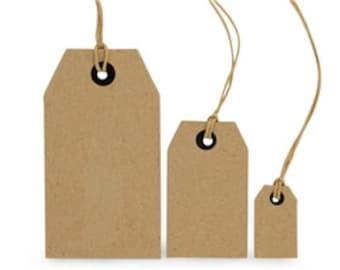 10 cardboard gift tags - natural - medium - 7.2 x 4.2 cm