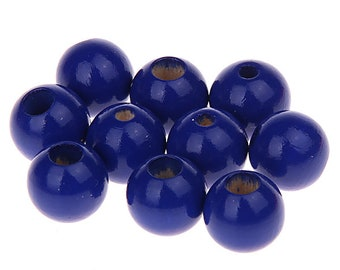 Wooden beads, safety beads 12 mm, 110pcs in bag - dark blue