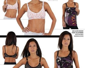 English, French sewing pattern (STill)bra, (still) bra shirt, Jalie 3131 size 0-22 (30-52)
