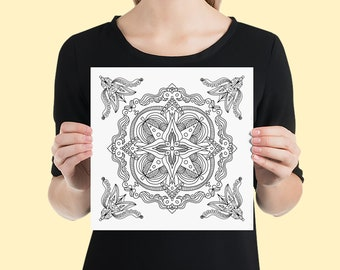 Mandala Art Print | Calming Geometric Tile Yoga Studio Wall Poster | Minimalist Black and White Line Art Drawing with Ornamental Corners #8