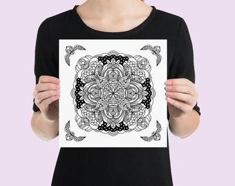 Mandala Art Print | Calming Geometric Zen Yoga Studio Wall Poster | Minimalist Black and White Line Art Drawing with Ornamental Corners #11