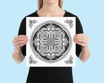 Mandala Art Print | Calming Geometric Zen Yoga Studio Wall Poster | Minimalist Black and White Line Art Drawing with Ornamental Corners #14