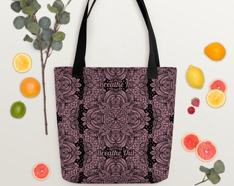 Mandala Meditation Dark Pink Lace Pattern Tote | Breathe In Breathe Out Zen Meditative Art Water Resistant Shopping Bag | Gift for Woman