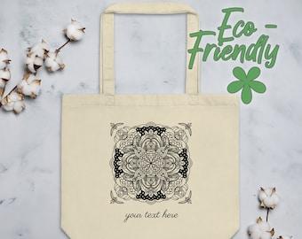 Personalized Mandala Tote Bag | Organic Cotton Geometric Yoga Tote | Minimalist Black and White Line Art Drawing with Ornamental Corners #11
