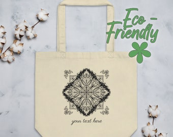 Personalized Mandala Tote Bag | Organic Cotton Geometric Yoga Tote | Minimalist Black and White Line Art Drawing with Ornamental Corners #4