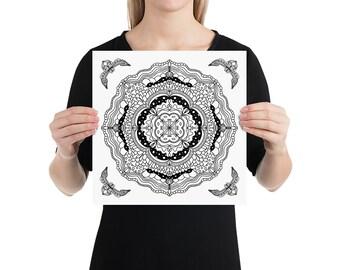 Mandala Art Print | Calming Geometric Zen Yoga Studio Tile Poster | Minimalist Black and White Line Art Drawing with Ornamental Corners #15
