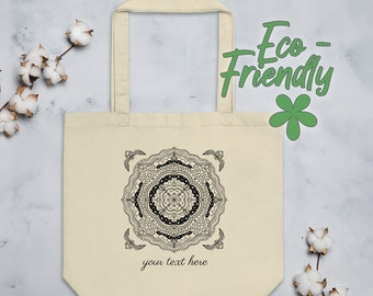 Personalized Mandala Tote Bag | Organic Cotton Geometric Yoga Tote | Minimalist Black and White Line Art Drawing with Ornamental Corners #15