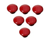Red Drawer Knob 6 Pack Button shape Ceramic Porcelain china Vintage Round Style Bedroom Door Cabinet Cupboard Pull Handle Brand New