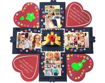Explosion Box Creative Gift Memory DIY Scrapbook Photo Album Valentines Day Anniversary Birthday Wedding