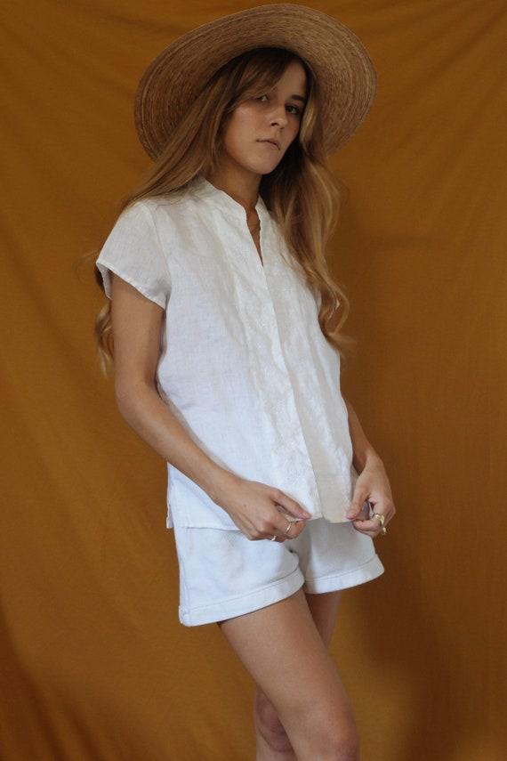 Linen Top / 100% Linen Top / Embroidered Shirt / S