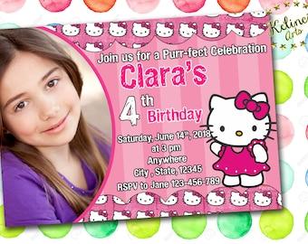 Hello kitty birthday invitation etsy personalized hello kitty birthday invitation hello kitty digital invitation hello kitty personalized invitation digital filmwisefo