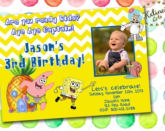 Spongebob birthday invitations etsy personalized spongebob birthday invitation spongebob digital invitation spongebob personalized invitation digital filmwisefo