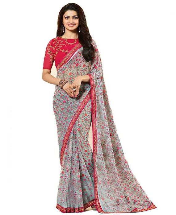 Elegant Floral Printed Embroidered Georgette Party Wear Sarees For Women With Unstitched Saree Blouse