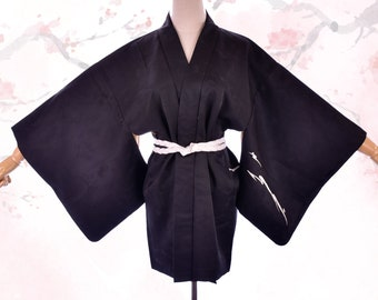 Japanese Black Silk Haori Kimono Jacket Jf4